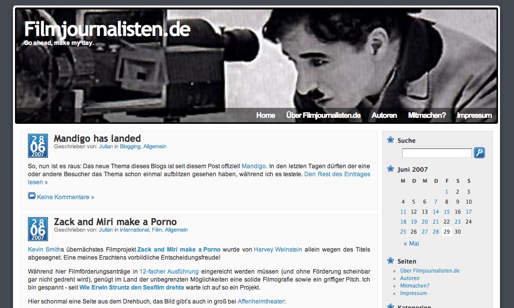 Filmjournalisten mit Charlie Chaplin-Header