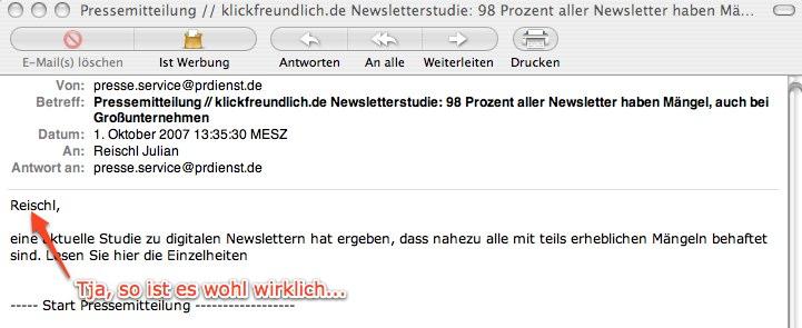 Screenshot Newsletter Klickfreundlich.de