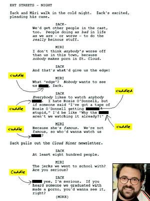 Kevin Smith und eine Seite aus dem Skript zu Zack and Miri make a Porno