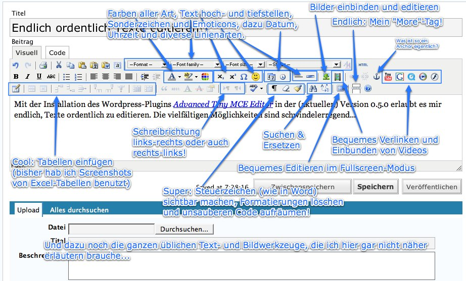 Advanced TinyMCE Editor Screenshot